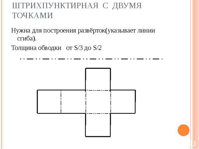 Штрихпунктирная с двумя точками Нужна для построения развёрток(указывает линии сгиба).Толщина обводки от S/3 до S/2