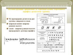 По конструкции прописные и строчные буквы чертежного шрифта делятся на группы. П