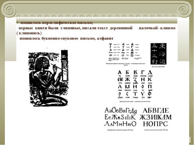 появилось иероглифическое письмо; первые книги были глиняные, писали текст деревянной палочкой- клином ( клинопись) появилось буквенно-звуковое письмо, алфавит