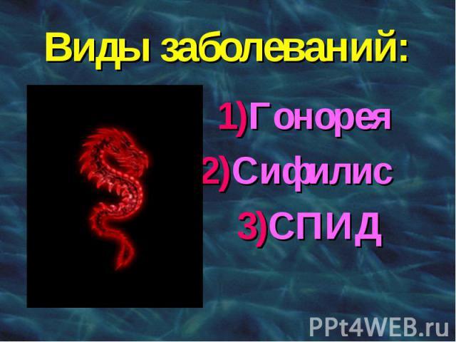 Виды заболеваний: 1)Гонорея 2)Сифилис 3)СПИД