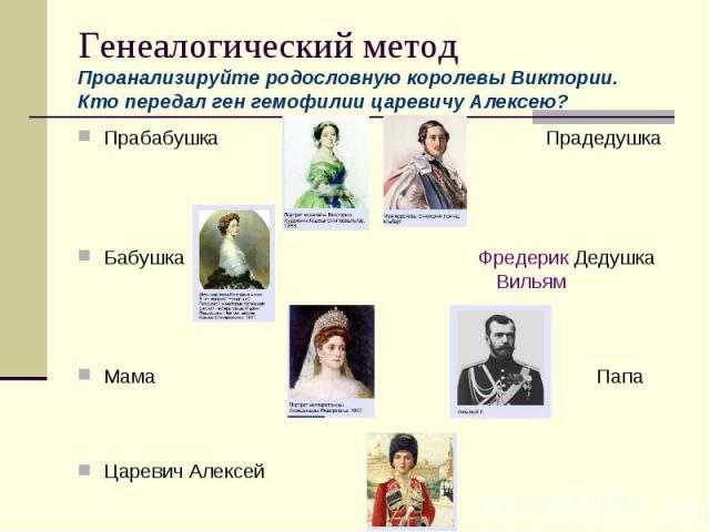Генеалогический методПроанализируйте родословную королевы Виктории. Кто передал ген гемофилии царевичу Алексею?