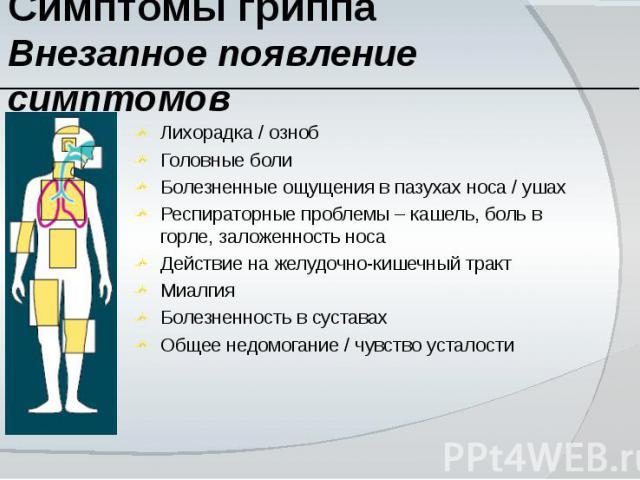 Симптомы гриппа Внезапное появление симптомов Лихорадка / ознобГоловные болиБолезненные ощущения в пазухах носа / ушахРеспираторные проблемы – кашель, боль в горле, заложенность носаДействие на желудочно-кишечный трактМиалгияБолезненность в суставах…