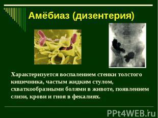Амёбиаз (дизентерия) Характеризуется воспалением стенки толстого кишечника, част