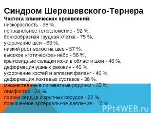 Синдром Шерешевского-Тернера Частота клинических проявлений: низкорослость - 98