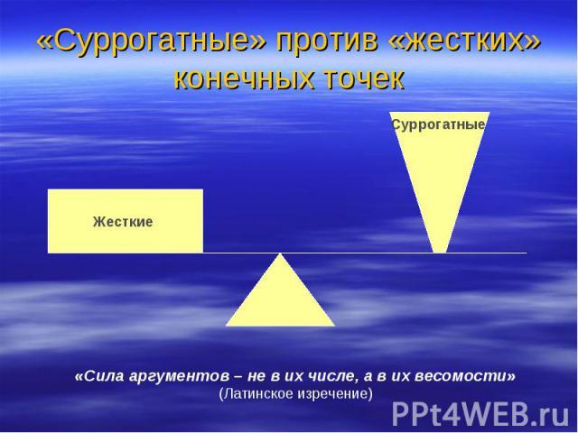 «Суррогатные» против «жестких» конечных точек «Сила аргументов – не в их числе, а в их весомости» (Латинское изречение)