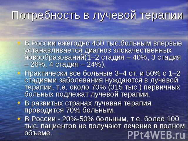 Потребность в лучевой терапии В России ежегодно 450 тыс.больным впервые устанавливается диагноз злокачественных новообразований(1–2 стадия – 40%, 3 стадия – 26%, 4 стадия – 24%).Практически все больные 3–4 ст. и 50% с 1–2 стадиями заболевания нуждаю…