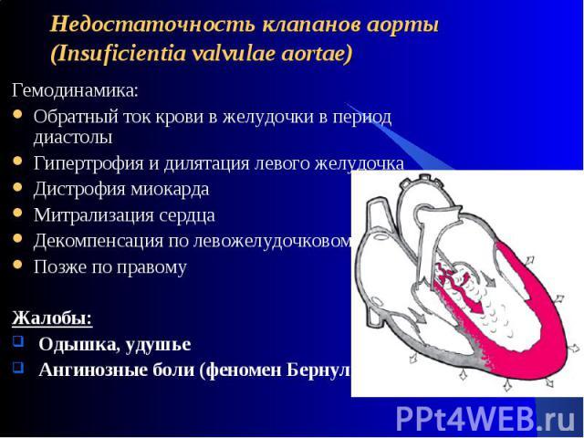 Недостаточность клапанов аорты (Insuficientia valvulae aortae) Гемодинамика:Обратный ток крови в желудочки в период диастолыГипертрофия и дилятация левого желудочкаДистрофия миокардаМитрализация сердцаДекомпенсация по левожелудочковому типуПозже по …