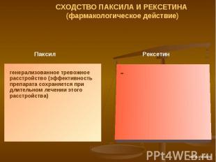 СХОДСТВО ПАКСИЛА И РЕКСЕТИНА (фармакологическое действие) Паксил генерализованно