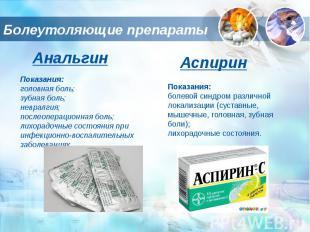 Болеутоляющие препараты АнальгинПоказания:головная боль;зубная боль;невралгия;по