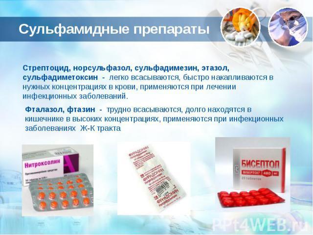 Сульфамидные препараты Стрептоцид, норсульфазол, сульфадимезин, этазол, сульфадиметоксин - легко всасываются, быстро накапливаются в нужных концентрациях в крови, применяются при лечении инфекционных заболеваний.Фталазол, фтазин - трудно всасываются…