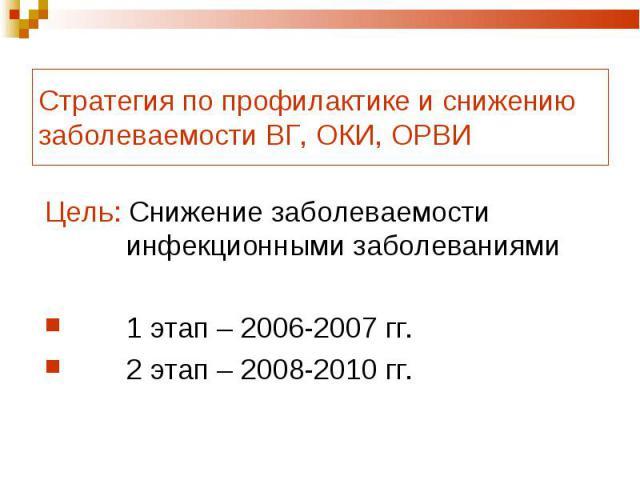 Стратегия по профилактике и снижению заболеваемости ВГ, ОКИ, ОРВИ Цель: Снижение заболеваемости инфекционными заболеваниями1 этап – 2006-2007 гг.2 этап – 2008-2010 гг.