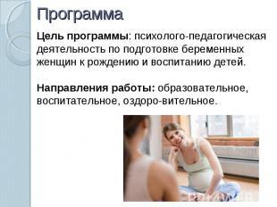 Программа Цель программы: психолого-педагогическая деятельность по подготовке бе