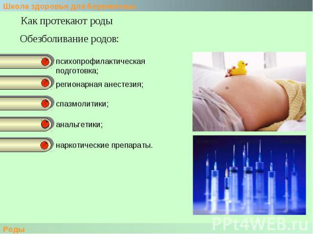 Как протекают родыОбезболивание родов:психопрофилактическая подготовка; регионарная анестезия;спазмолитики;анальгетики;наркотические препараты.