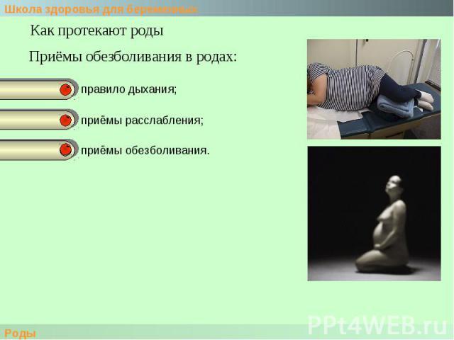 Как протекают роды Приёмы обезболивания в родах:правило дыхания;приёмы расслабления;приёмы обезболивания.