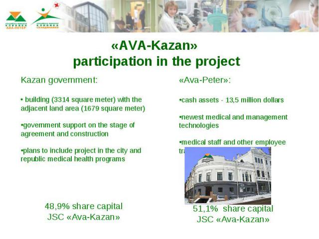 «AVA-Kazan» participation in the project Kazan government: building (3314 square meter) with the adjacent land area (1679 square meter)government support on the stage of agreement and construction plans to include project in the city and republic me…