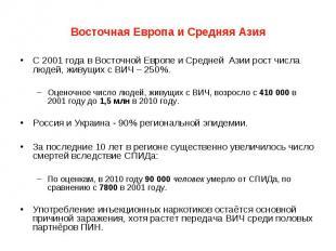 Восточная Европа и Средняя Азия С 2001 года в Восточной Европе и Средней Азии ро