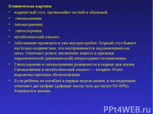 Клиническая картинаводянистый стул, чрезвычайно частый и обильный;гипокалиемия;