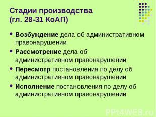 Стадии производства (гл. 28-31 КоАП) Возбуждение дела об административном правон
