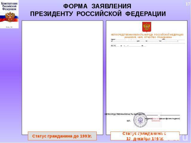 ФОРМА ЗАЯВЛЕНИЯ ПРЕЗИДЕНТУ РОССИЙСКОЙ ФЕДЕРАЦИИ