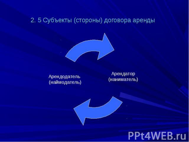 2. 5 Субъекты (стороны) договора аренды