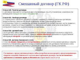Смешанный договор (ГК РФ) Статья 420. Понятие договора Договором признается согл