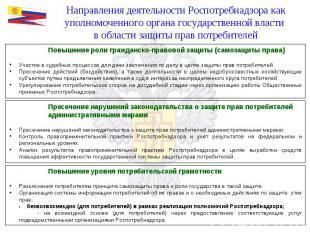 Направления деятельности Роспотребнадзора как уполномоченного органа государстве