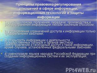 Принципы правового регулирования отношений в сфере информации, информационных те