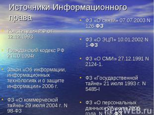 Источники Информационного права Конституция РФ от 12.12.1993Гражданский кодекс Р