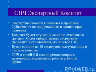 СПЧ Экспертный Комитет Экспертный комитет заменяет в прошлом Субкомитет по продв
