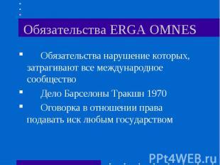 Обязательства ERGA OMNES Обязательства нарушение которых, затрагивают все междун
