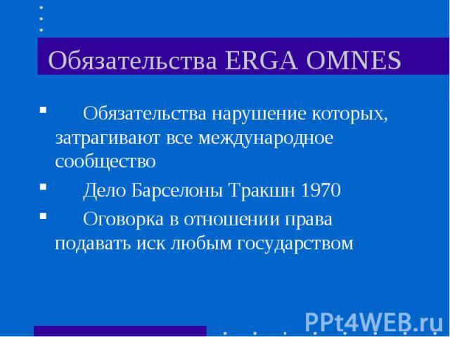 Обязательства ERGA OMNES Обязательства нарушение которых, затрагивают все международное сообщество Дело Барселоны Тракшн 1970 Оговорка в отношении права подавать иск любым государством