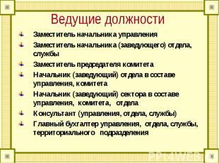 Ведущие должности Заместитель начальника управления Заместитель начальника (заве