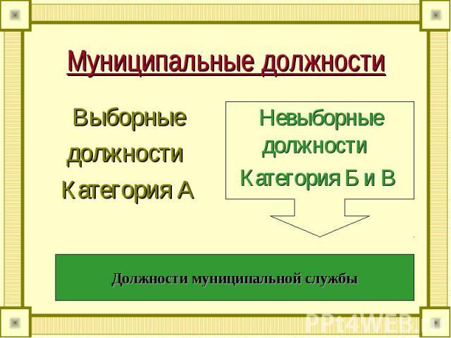 Муниципальные должности Выборныедолжности Категория А Невыборные должности Категория Б и ВДолжности муниципальной службы