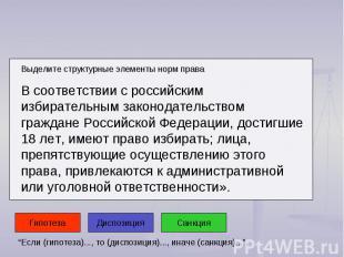 Выделите структурные элементы норм права В соответствии с российским избирательн