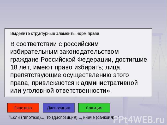Выделите структурные элементы норм права В соответствии с российским избирательным законодательством граждане Российской Федерации, достигшие 18 лет, имеют право избирать; лица, препятствующие осуществлению этого права, привлекаются к административн…