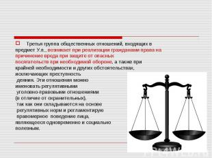 Третья группа общественных отношений, входящих впредмет У.п., возникает при реал