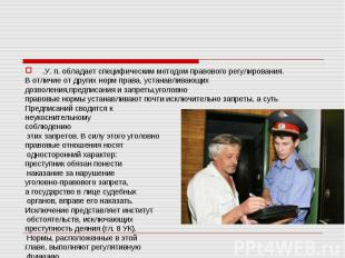 .У. п. обладает специфическим методом правового регулирования.В отличие от други