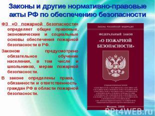 Законы и другие нормативно-правовые акты РФ по обеспечению безопасности ФЗ «О по