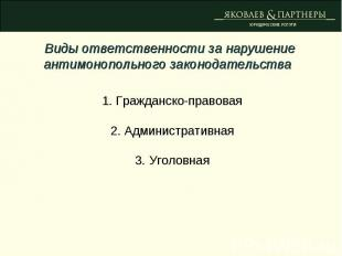 Виды ответственности за нарушение антимонопольного законодательства 1. Гражданск