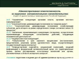 Административная ответственность за нарушение антимонопольного законодательства(