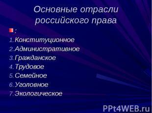 Основные отрасли российского права : Конституционное АдминистративноеГражданское
