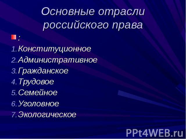 Основные отрасли российского права : Конституционное АдминистративноеГражданское ТрудовоеСемейноеУголовноеЭкологическое