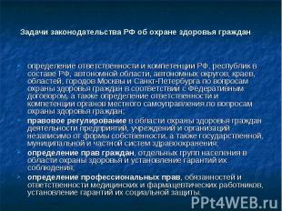 Задачи законодательства РФ об охране здоровья граждан определение ответственност