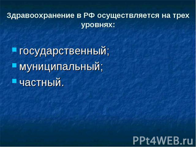 Здравоохранение в РФ осуществляется на трех уровнях: государственный;муниципальный;частный.