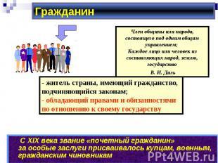 Гражданин Член общины или народа, состоящего под одним общим управлением; Каждое
