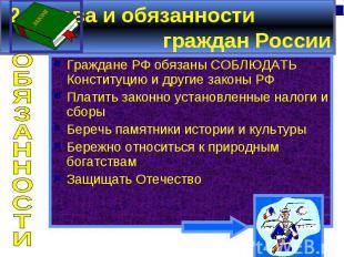 2. Права и обязанности граждан России Граждане РФ обязаны СОБЛЮДАТЬ Конституцию