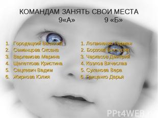 КОМАНДАМ ЗАНЯТЬ СВОИ МЕСТА 9«А» 9 «Б» Городецкий Василий 1. Логвиненко ГерманСем