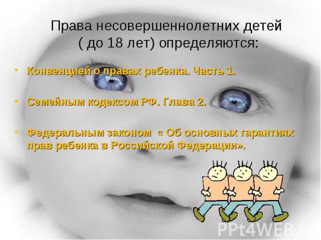 Права несовершеннолетних детей ( до 18 лет) определяются: Конвенцией о правах ребенка. Часть 1.Семейным кодексом РФ. Глава 2.Федеральным законом « Об основных гарантиях прав ребенка в Российской Федерации».