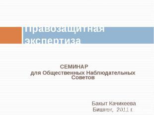 Правозащитная экспертиза СЕМИНАРдля Общественных Наблюдательных СоветовБакыт Кач