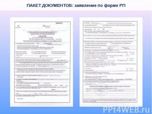 ПАКЕТ ДОКУМЕНТОВ: заявление по форме РП